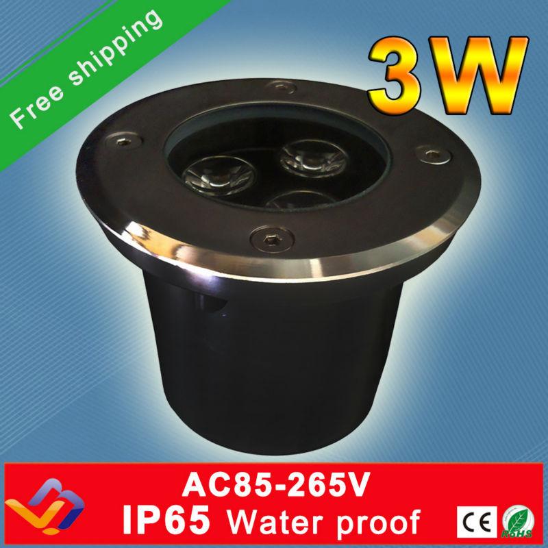 ¡Envío gratis! 10 Uds./lote, venta directa de fábrica, 3*1W D60MM * H70MM, luz LED subterránea IP65, lámpara empotrada de pie para exteriores