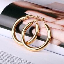 Grande boucle doreille ronde pour femme, bijoux en métal, sans nickel, couleur or/argent, conserve longtemps, de haute qualité, à la mode, tendance 2020