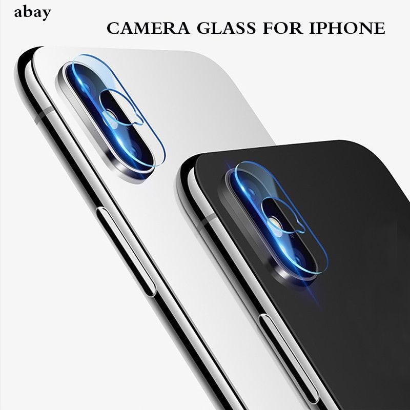 Protecteur d'écran d'objectif de caméra arrière, Film à couverture complète en verre trempé pour iPhone X 8 7 6 6S Plus XS MAX XR 5 5s