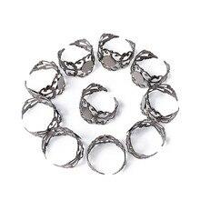 100pcs Size 7(17.3mm) Gunmetal Lead Free Hollow Elegant Brass Filigree Rings Shanks DIY Adjustable Ring Base Findings Components