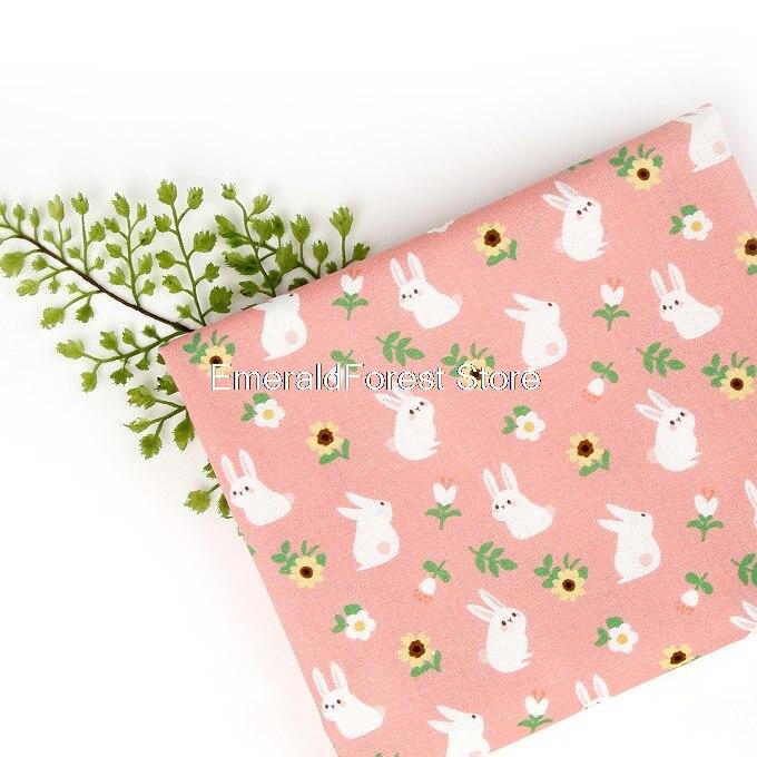 Coreia do sul importado de alta qualidade tecido de algodão, coelho dos desenhos animados impresso tecido, artesanal diy vestuário vestido macio 90cm x 110cm