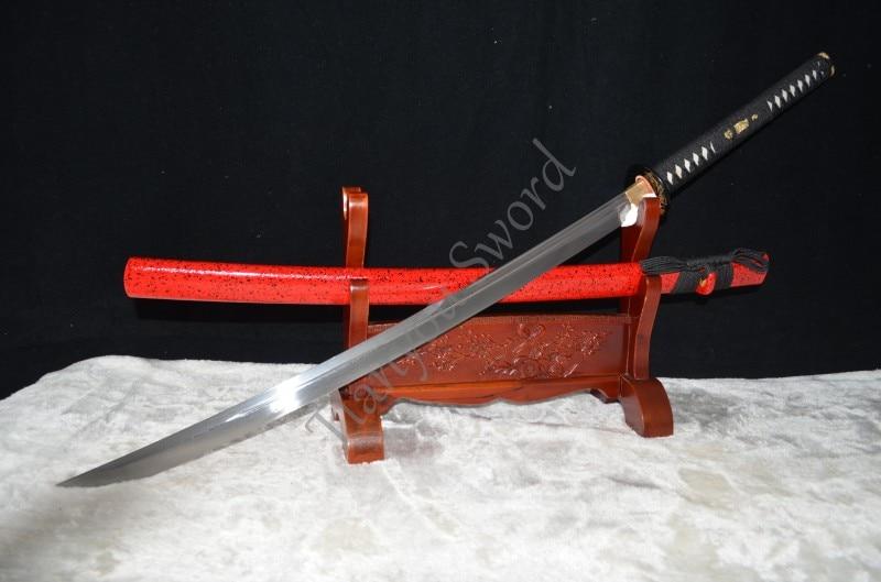 "Espada funcional completa de 45 ""Samurai japonés Naginata Damasco de acero plegado aceite para templado unokubi-zukuri Blade Battle Ready"