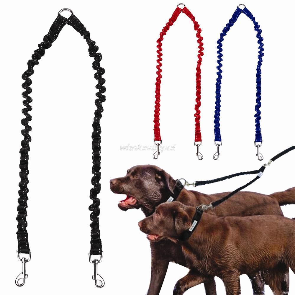 Двойной поводок для собак Эластичный банджи для домашних животных муфта для ходьбы поводок для 2 близнецов собак поводок сплиттер 3 Цвета в наличии
