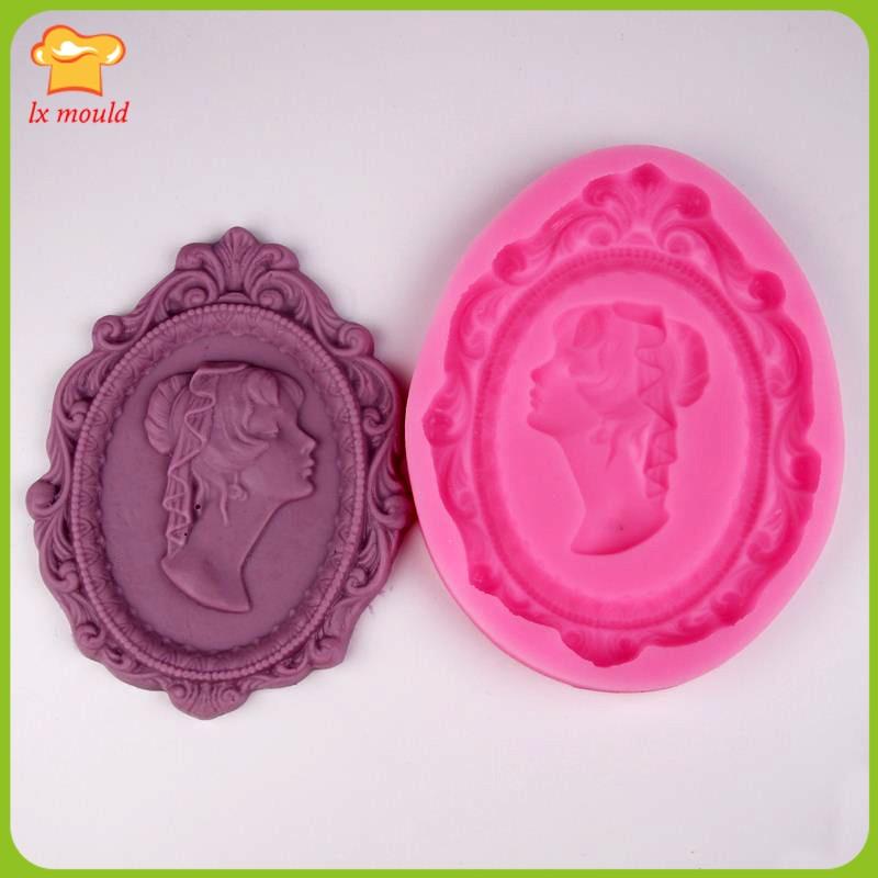 Molde de cuadro molde para golosinas y chocolate molde para pastel de silicona cabeza de niña