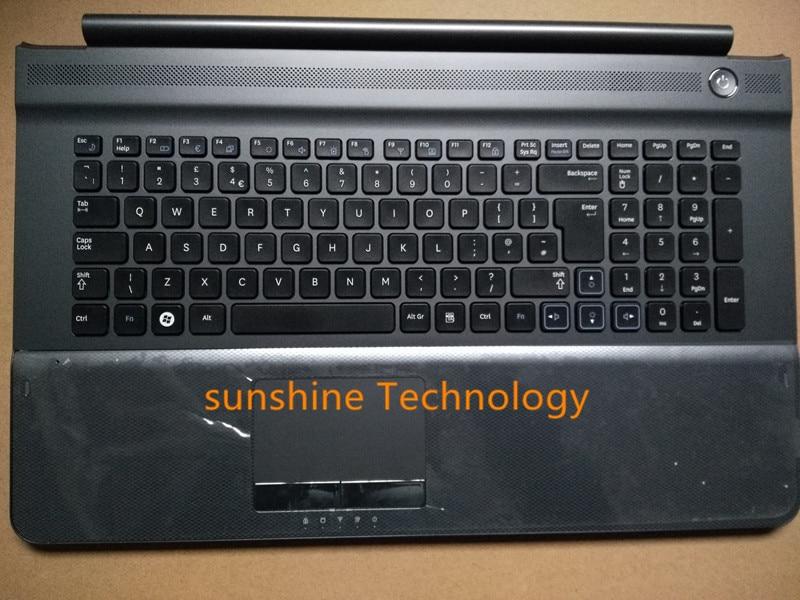 Diseño del Reino Unido nuevo teclado del ordenador portátil con el palmresto del panel táctil para samsung RC710 RC720 BA75-02838A negro