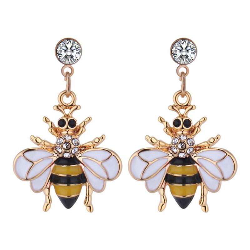Новые Стильные корейские популярные милые серьги в виде пчел с бриллиантом форме
