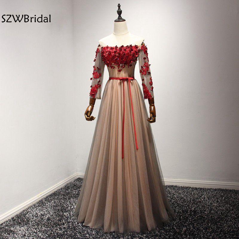 New Arrival Real photos Long sleeve Evening dress 2020 Vestido festa abendkleider Kaftan evening party prom dress Plus size