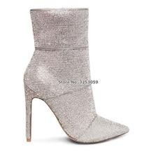 ALMUDENA أعلى جودة الفضة الكريستال حذاء من الجلد رقيقة عالية الكعب بلينغ بلينغ حجر الراين أحذية بوت قصيرة سستة تألق أحذية الزفاف