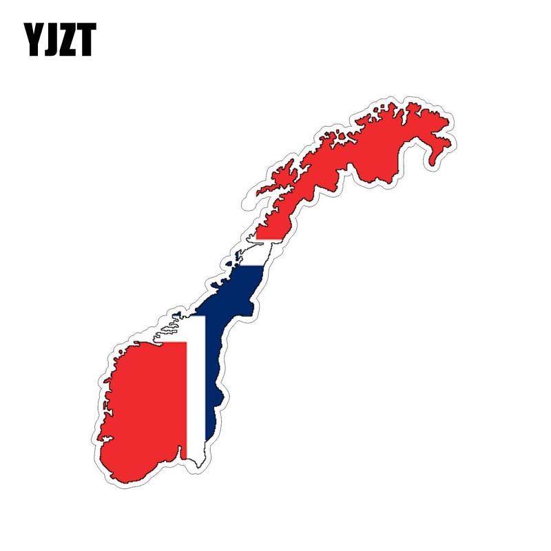 YJZT 13,8 CM * 3,7 CM Accesorios bandera noruega pegatina de coche mapa casco de PVC calcomanía 6-0839