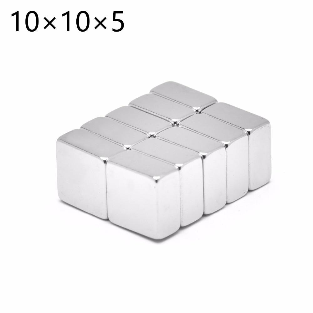 50 Uds 10mm x 10mm x 10mm x 5mm x mm, Super poderoso fuerte bloque de tierras raras imán de NdFeB 10x10x5 de neodimio N35 imanes 10*10*5 envío gratis