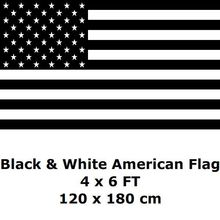 American Flag 4` x 6` FT 100D Polyester Black and White Economic Recession USA United States Flags a