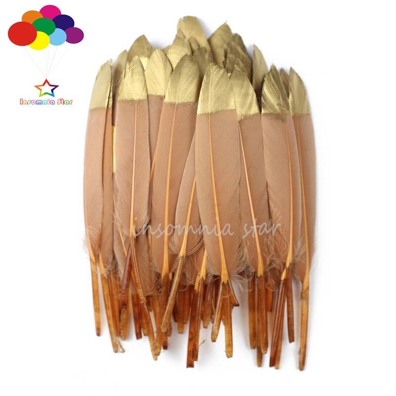 Pluma de pato rojo café teñido oro cabeza 100% Natural 10-100 Uds 6-8 pulgadas/15-20 cm Diy carnaval disfraz máscara tocado manualidades