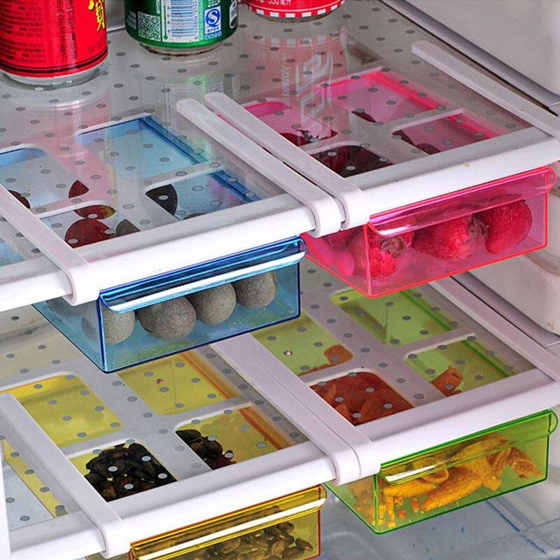 Eco-friendly multi-função cozinha geladeira rack de armazenamento geladeira freezer prateleira titular organizador de gaveta de alimentos espaço saver