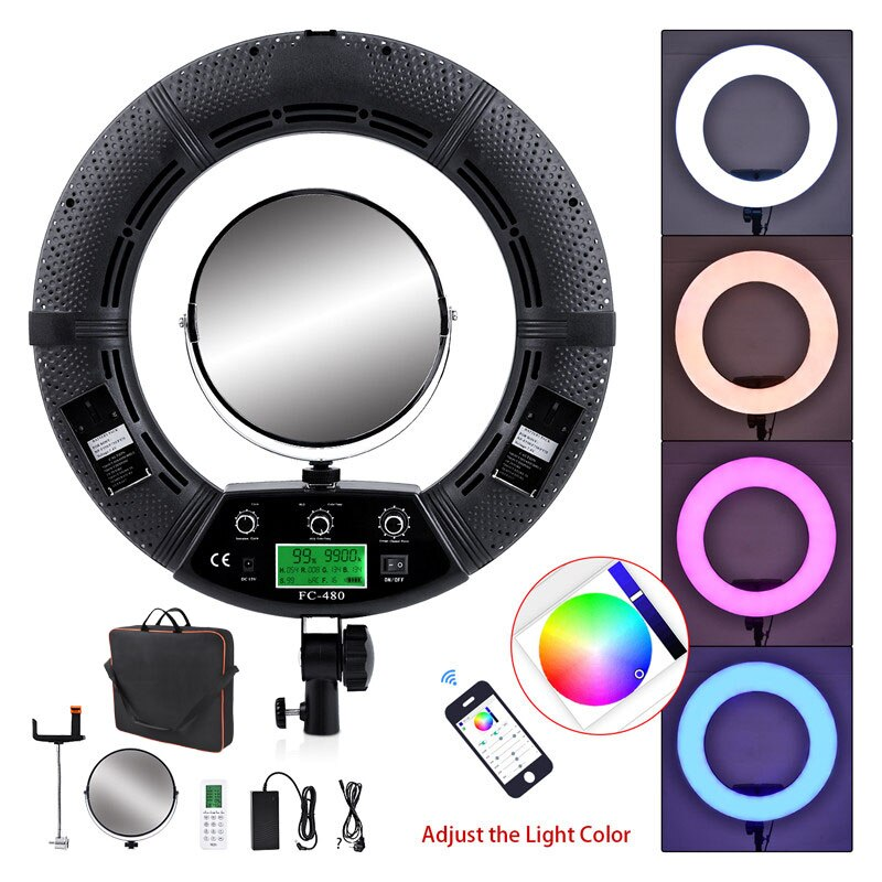 Fosoto FC-480 coloré 480 RGB Led vidéo lumière éclairage photographique 2800-10000k 96W caméra téléphone Photo Studio anneau lampe et miroir