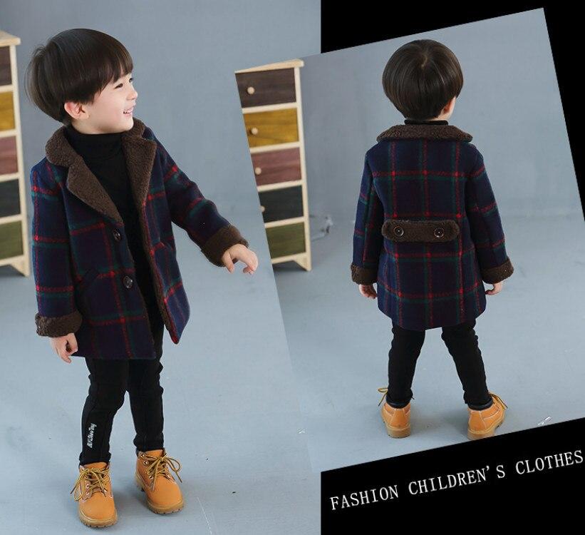 Vêtements dautomne et dhiver pour enfants   Manteau de laine, à carreaux, coupe-vent chaud, cadeaux de noël, tendance, nouvelle collection