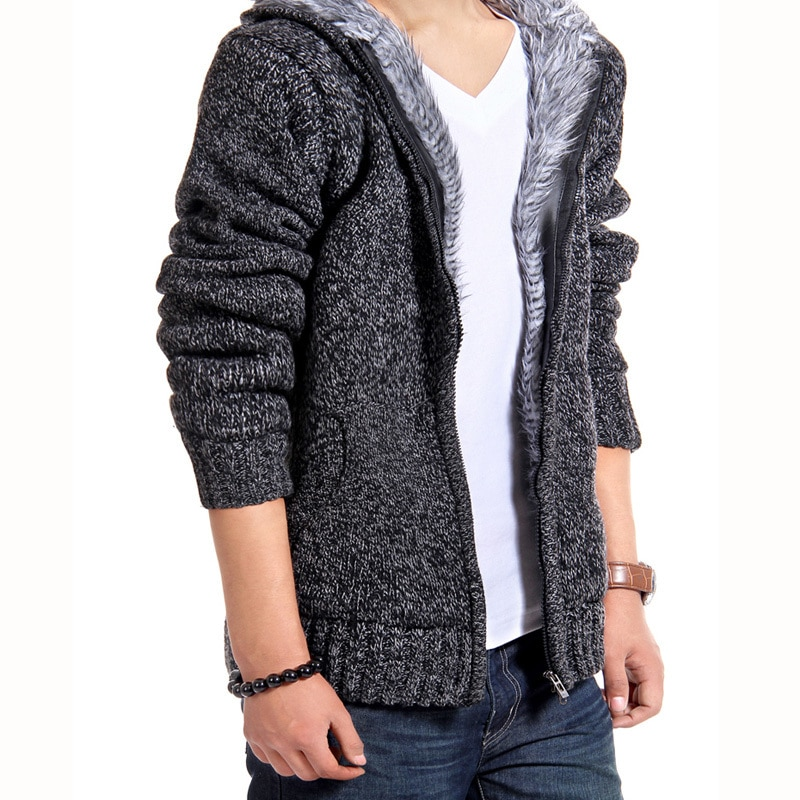 Fur Inside Thick Autumn & Winter Warm Jackets Hoodies Hodded Men's Casual 5 Color Thick Hot Sale Sweatshirt