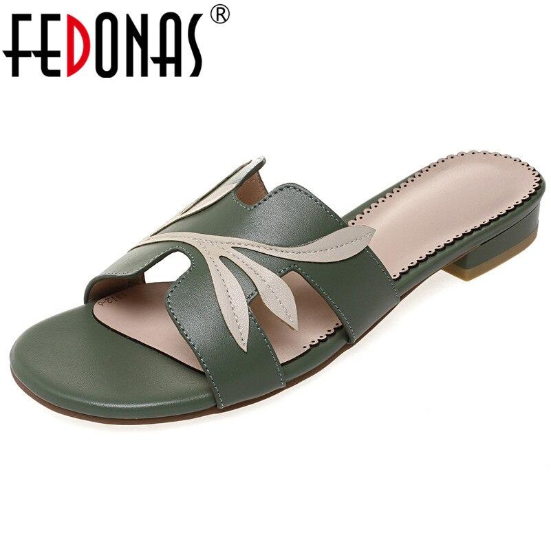 FEDONAS-صندل نسائي بمقدمة دائرية ، حذاء كاجوال أساسي للحفلات ، جلد طبيعي ، بكعب منخفض ، ناعم ، عصري ، 2021