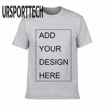 URSPORTTECH özelleştirilmiş erkek tişört baskı kendi tasarım yüksek kaliteli nefes pamuk erkek t-shirtü artı boyutu XS-3XL