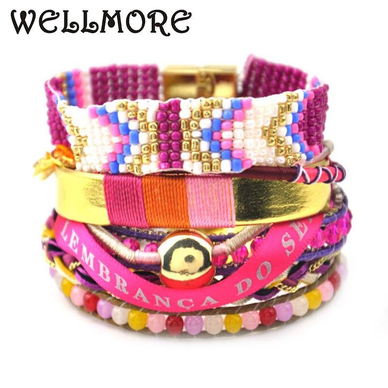 Rosa rosa grânulos pulseira cristal charme pulseiras & bangles bohemia pulseiras para mulher manchette tem s/m/l tamanho b1515