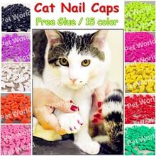 20 pçs/pçs/lote gato tampões de unhas macio gato pata gato garra xs, s, m, l com cola livre