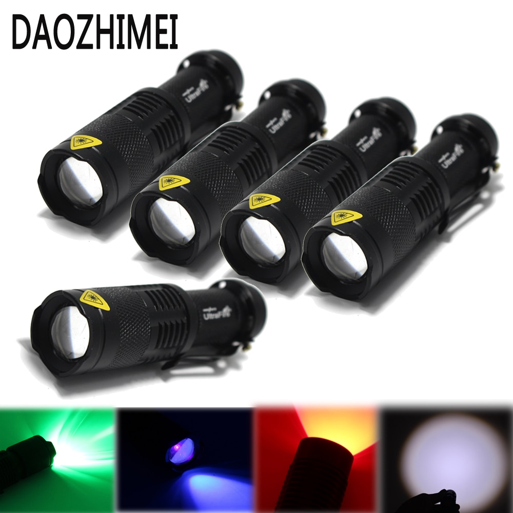 5 pcs New Powerful light XPE/Q5 UV/Green/Red /White Zoomable Tactical Torch Lamp Hunting Fishing light