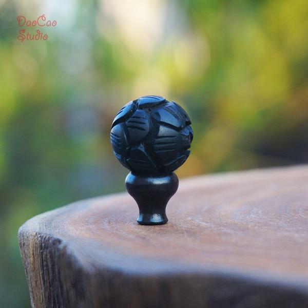 10 12 15 18 mm natrual guru de madeira preta talão esculpido lótus, solta mala contas japa mala pulseira jóias descobertas diy acessórios
