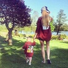 Tenues pour mère et fils   Vêtements assortis, pour maman et fille, en tissu écossais, robe de famille, pour enfants