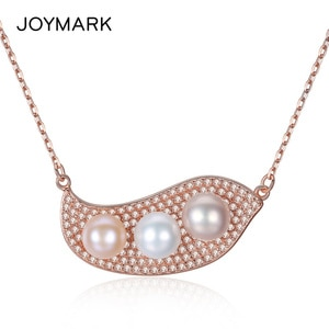Rose Gold Color Pea Style Cubic Zirconia Freshwater Pearl Pendant Necklaces Exquisite S925 Sterling Silver Jewelry JPN314