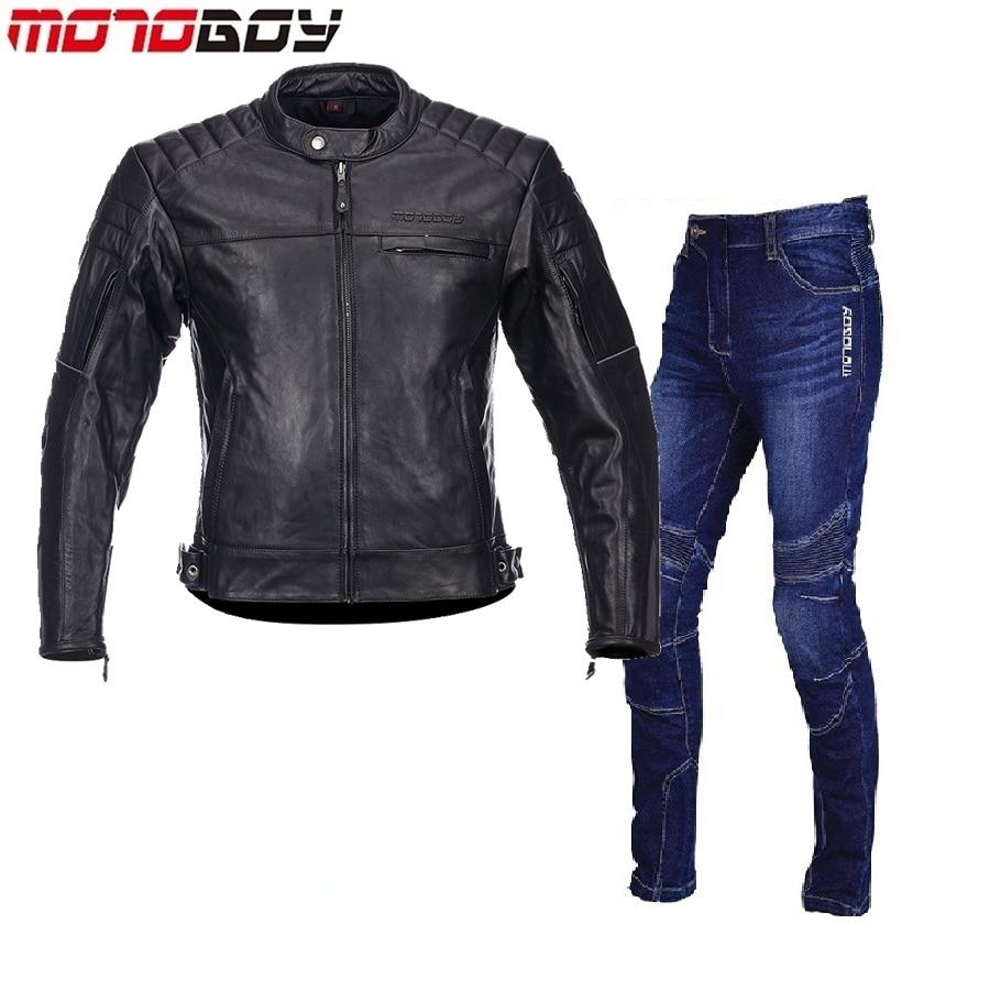O envio gratuito de 1 conjunto Dos Homens de Moto Jaqueta de Couro Quente Reflexivo Moto Calça Jeans Esportes Jaqueta e Calças de Couro Da Motocicleta Do Couro