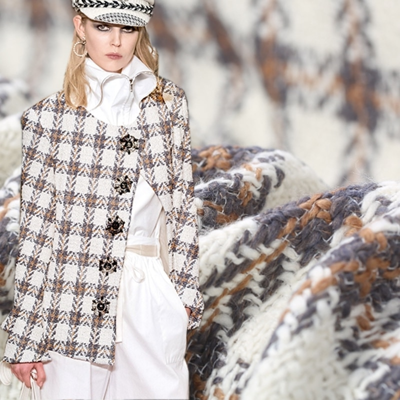 Tela multicolor de lana tejida de tweed para abrigo tissu au metre patchwork telas tejidas para ropa tissus DIY