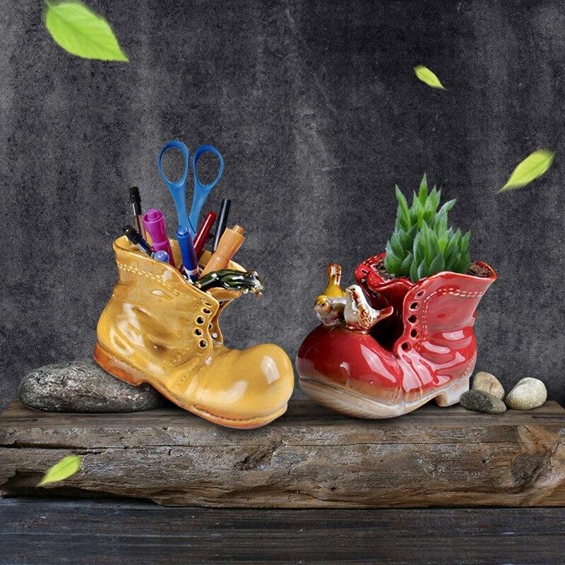 Dibujos Animados Shose suculenta jarrón figuritas maceta ornamentos cerámica Hydrophyte contenedor flor Pot decoración del hogar envío gratis