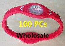 DHL gratuit 100 pièces puissance énergie Bracelet bracelets femmes hommes Sport bracelets équilibre Ion thérapie magnétique Silicone bracelets