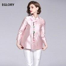 Haute qualité marque grande taille nouvelles vestes manteau automne mode femmes fleur broderie à manches longues manteau court femme veste XXL