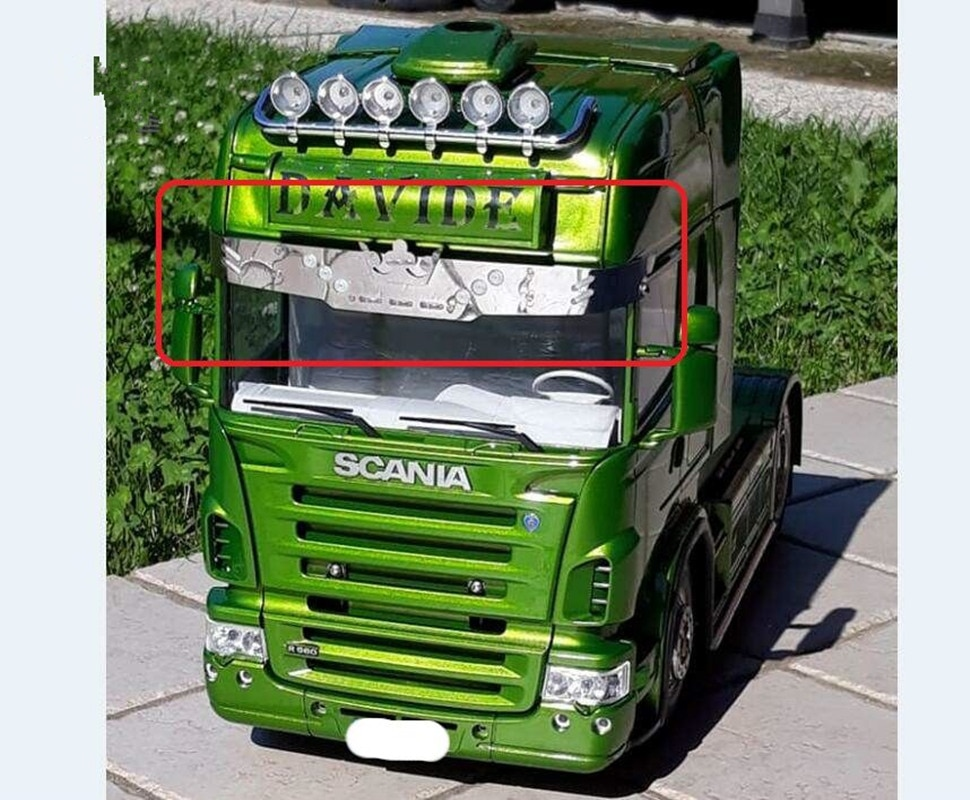 New Scania Truck Top Sun Shield Led Light Bar Sets For Tamiya 1/14TH Scale RC Scania R620 56323 R730 R470 Tractor Trailer Truck enlarge
