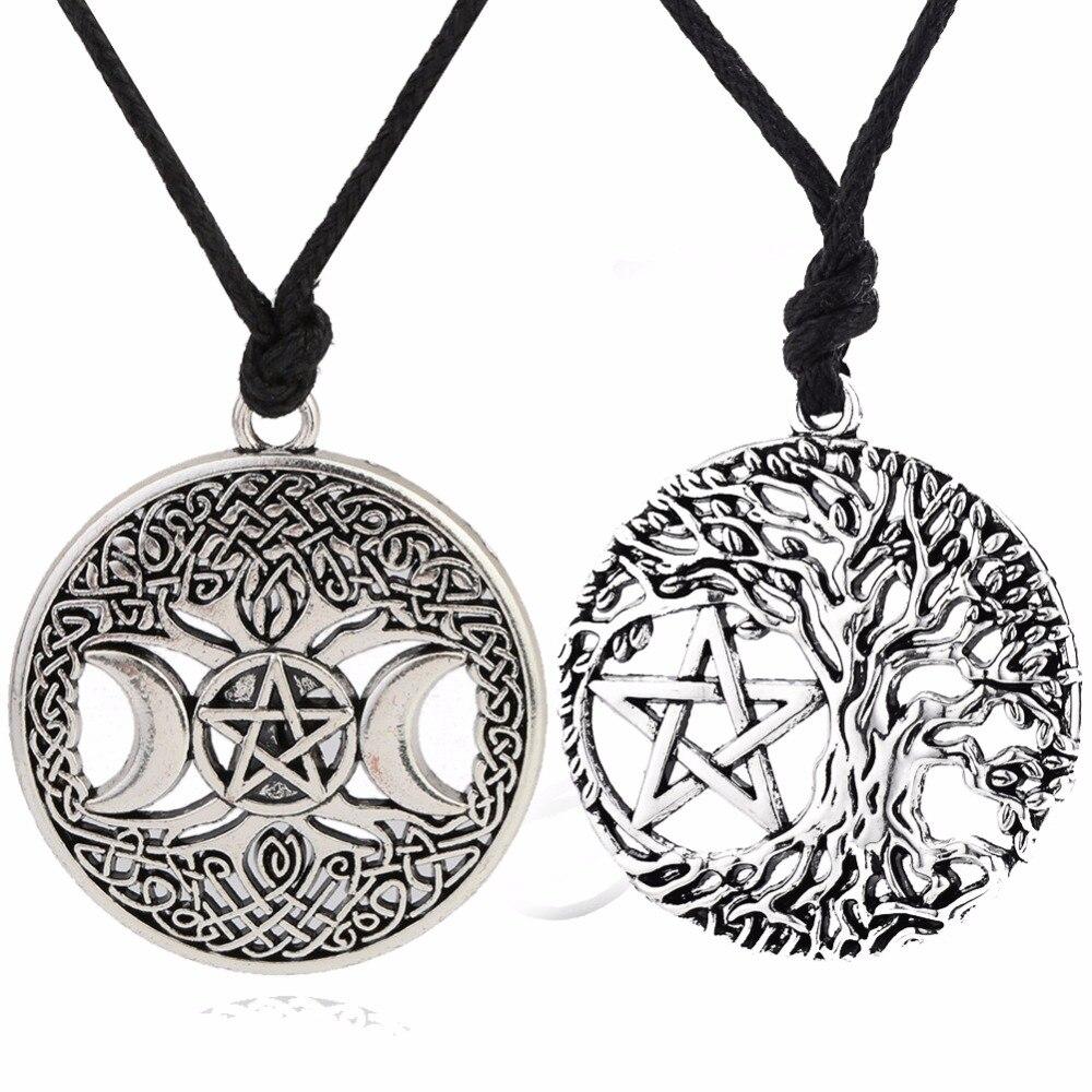 Skyrim Yggdrasil Pentagramm Baum des Lebens/Triple Güte Anhänger Halskette Nordischen Viking Vintage Retro Schmuck für Männer Frauen