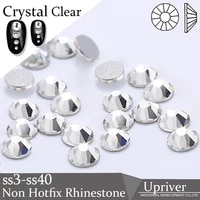 upriver small size nail art rhinestone crystal clear ss3 ss40 flatback non hot fix rhinestone glue on for nails