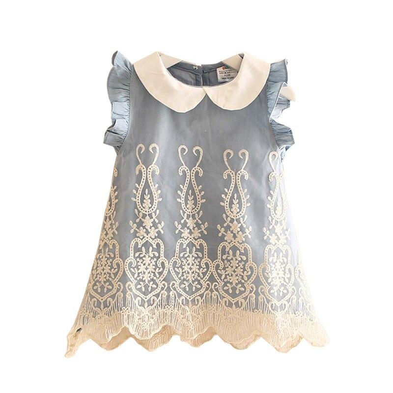 Милое кружевное джинсовое платье майка для маленьких девочек детская