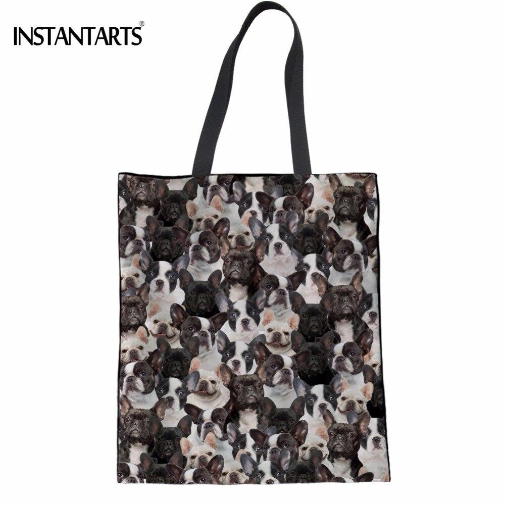 INSTANTARTS Cute 3D French Bulldog/Boston Terrier Dog Print Women Linen Shopping Bags Multi-function Eco Bags Girl Shoulder Bags
