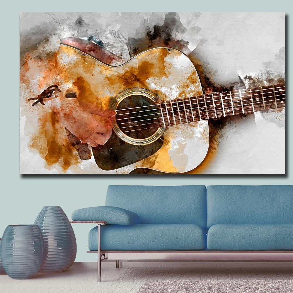 Абстрактное художественное изображение в виде мелодии гитары, настенный Декор для дома, гостиной, современный парусиновый рисунок, без рам...