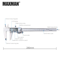 MAXMAN Stainless Steel High Precision Electronic Digital Vernier Caliper Ruler Measuring Gauging Tools Measurement Trammel