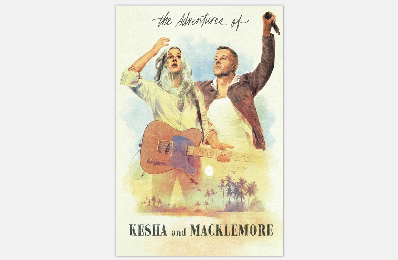 Q2023 Poster und Drucke Die Abenteuer von Kesha und Macklemore Musik Tour 20x30 24x36 Kunst Poster leinwand Malerei Home Decor