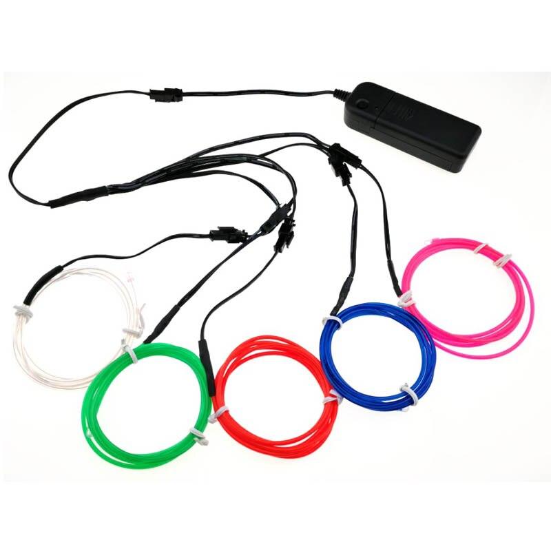 EL Wire-tira de luces LED de neón de 1M, 5 colores, con 2AA de control y cable Flexible, resistente al agua, para fiestas de baile