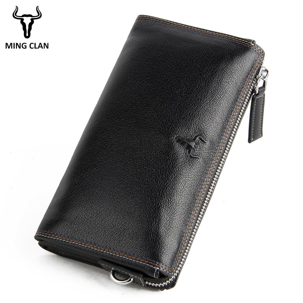 Mingclan Genuine Leather Men Clutch Wallets Multifunction Long Men Wallet Male Zipper Coin Purse Money Clutch Bags Card Holder недорого