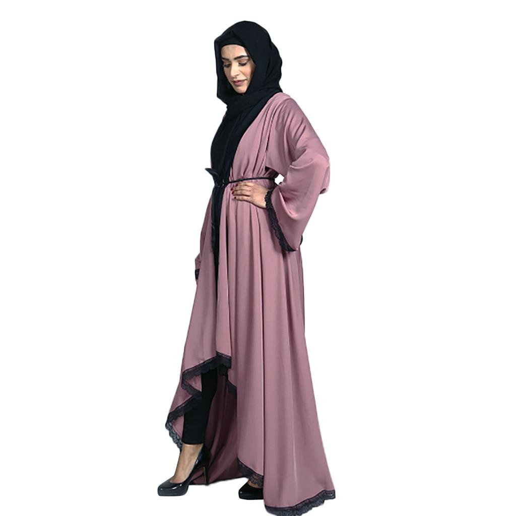 Evening Abaya Maxi Dress Muslim Women Dubai Style Women Open Front Kaftan Abaya Muslim Cardigan Jilbab Lace Gown Dress Z411