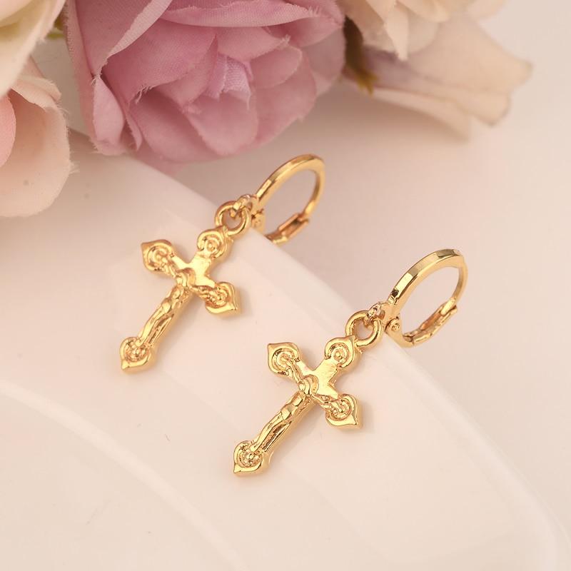 2 pares pequeno brinco queda cruz adorável Jesus Cristão Árabe Do Oriente Médio Dubai Ouro africano Jóias para as mulheres Mãe crianças presentes