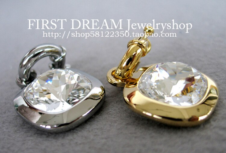 Venda quente dyrberg/kern na moda quadrado grande pingente de cristal ouro e prata cor pendantin estoque