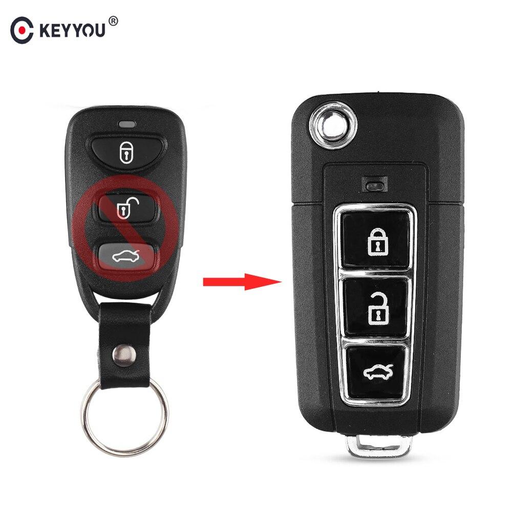 KEYYOU modificado carcasa de llave abatible plegable caso 3 botones para Kia Cerato Carens espectros Forte Lotze Optima Fob funda para mando a distancia de coche