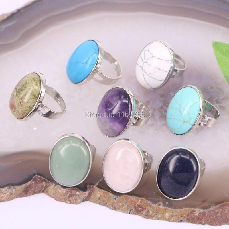 10 Stücke Opal Quarz Blauen Stein Edelstein Oval Fingerring Frauen Reiki Chakra Healing Punkt Ringe Modeschmuck
