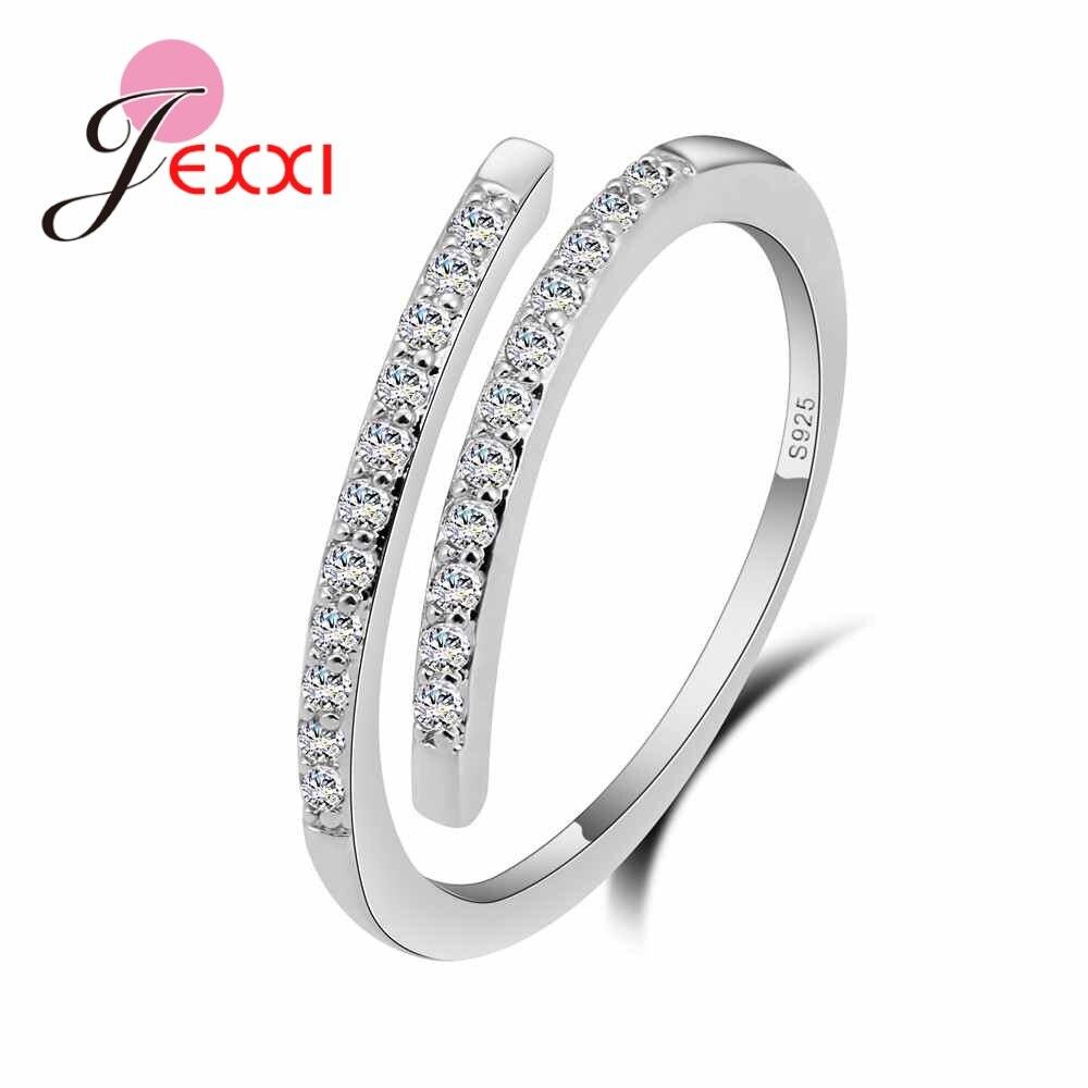 Mais novo design chique luxo simples ajustável anel de prata pavimentar brilhante aaa clear cz cristal para meninas melhor amigo jóias