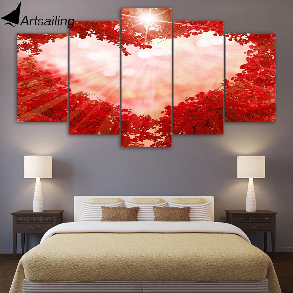 ArtSailing lienzo grande de 5 paneles arte Rosa corazón rojo arce cuadros de bosques para la decoración para las paredes del salón Poster Cuadros decorativos